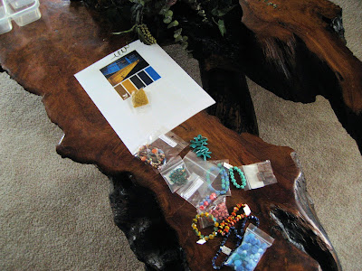 Color palette and beads for swaps on my coffee table