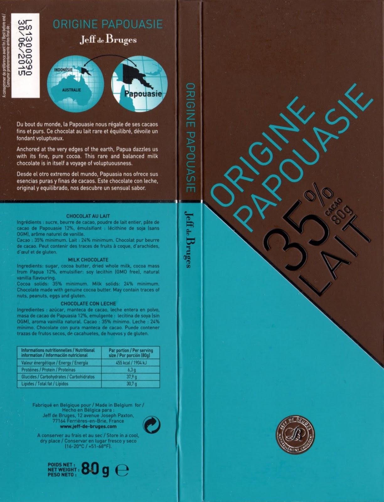 tablette de chocolat lait dégustation jeff de bruges origine papouasie 35