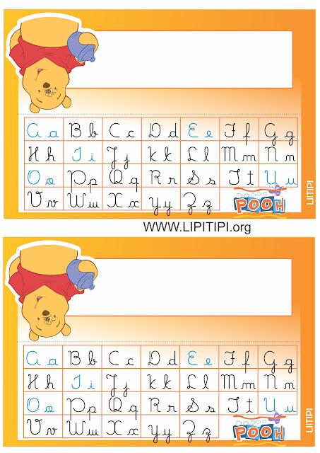 Crachás de mesa com alfabeto Ursinho Pooh