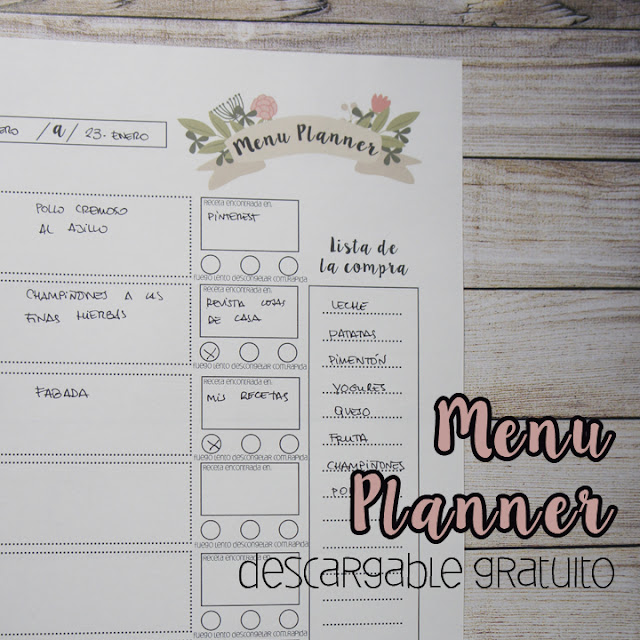 menu planner descargable gratis