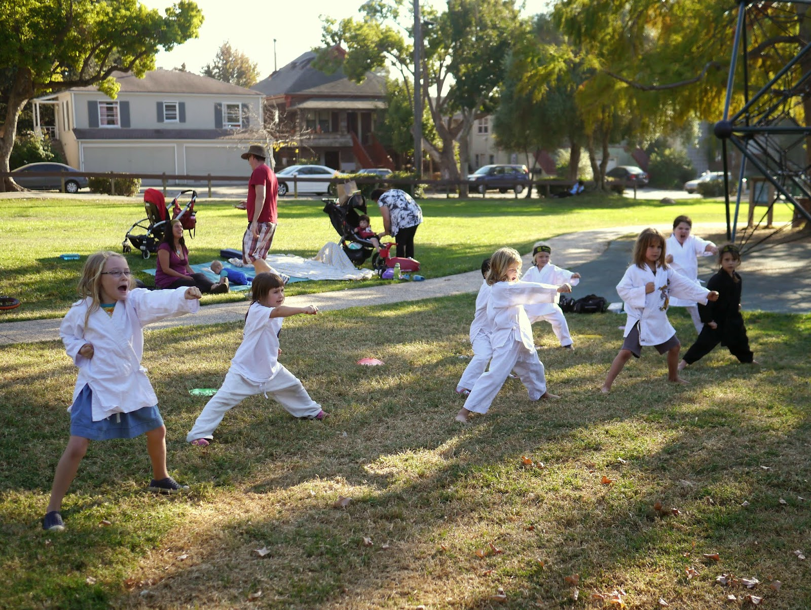 i love how crazy the kids look when they practice their kicks