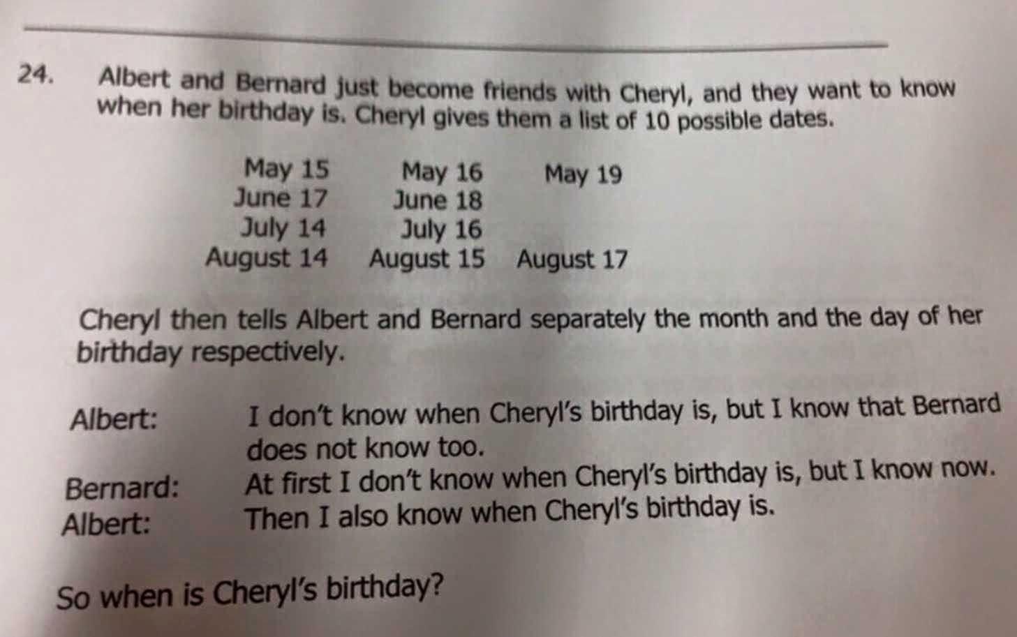 When is Cheryl's Birthday?