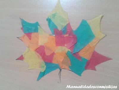 Manualidades infantiles: Hoja de otoño transparente y colorida 8 años