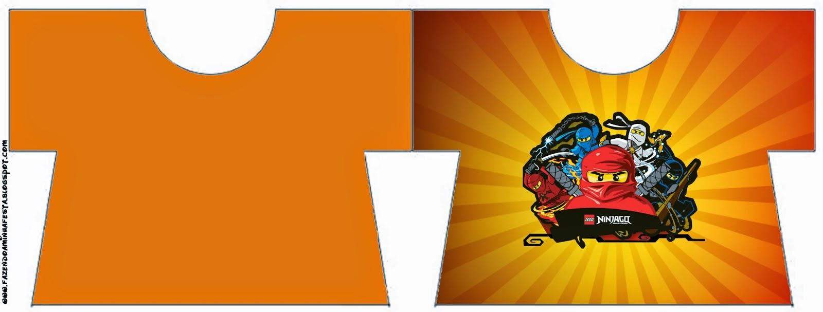 Tarjeta con forma de camisa de Ninjago.