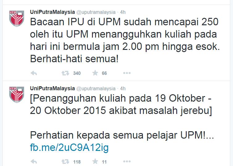 Bacaan IPU di UPM sudah mencapai 250