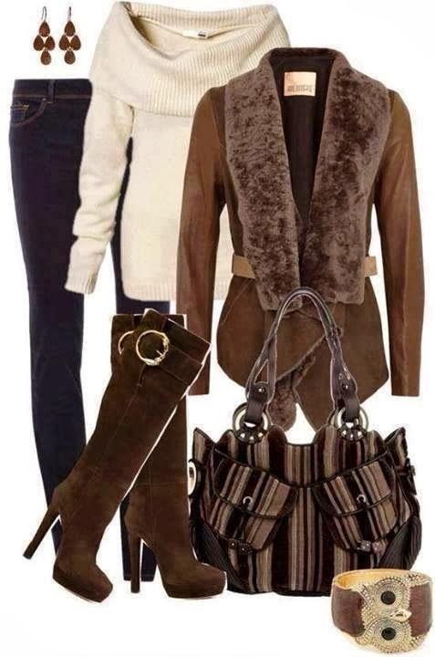 Fall outfit combination of white open shoulder sweater, brown jacket, jeans and long boots