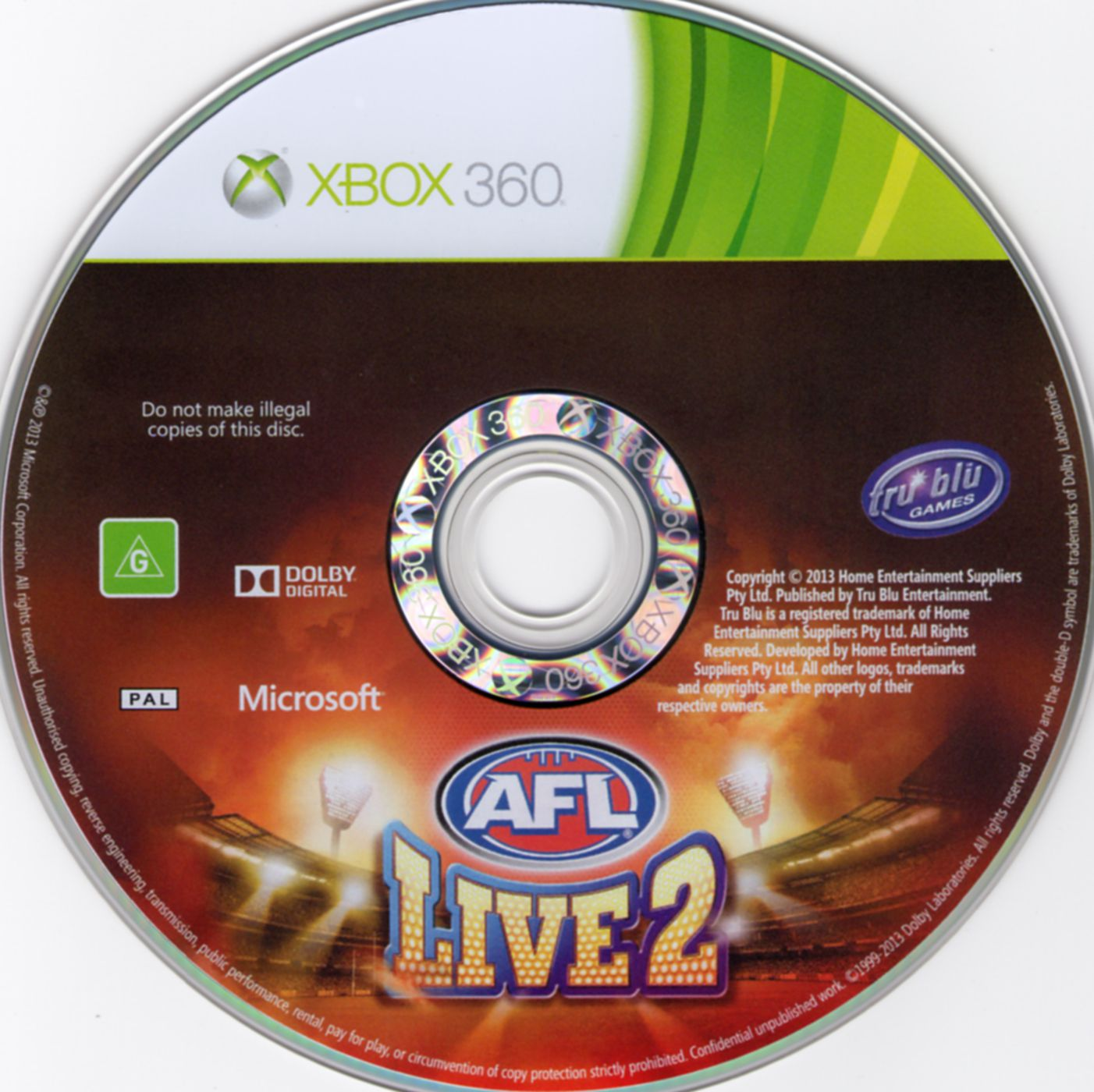 Label AFL Live 2 Xbox 360