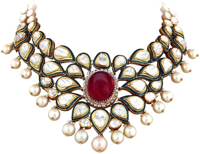 Entice Taraash- Kundan Polki Necklace with Ruby, Pearls & Enamel