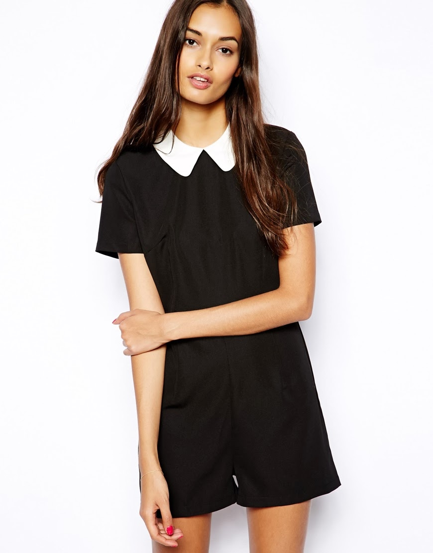 black collar playsuit