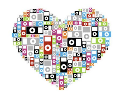 several ipods put together to form a heart