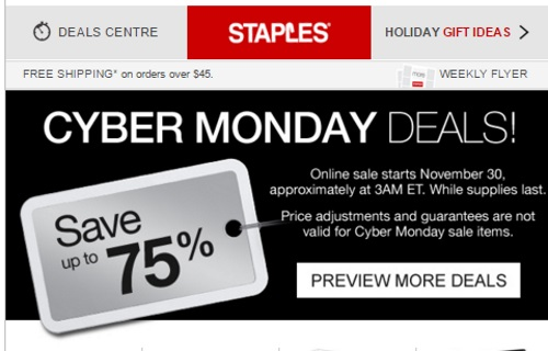 Staples Cyber Monday Preview Save Up To 75% Off