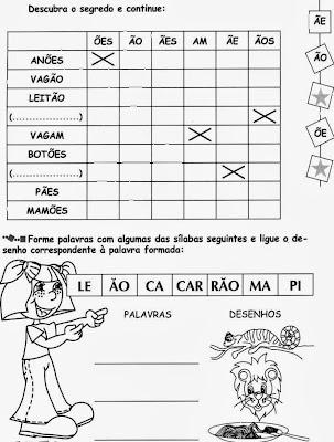 Atividades com ÃO, alfabetização, anos iniciais,ortografia,atividades para imprimir, montar as palavras.