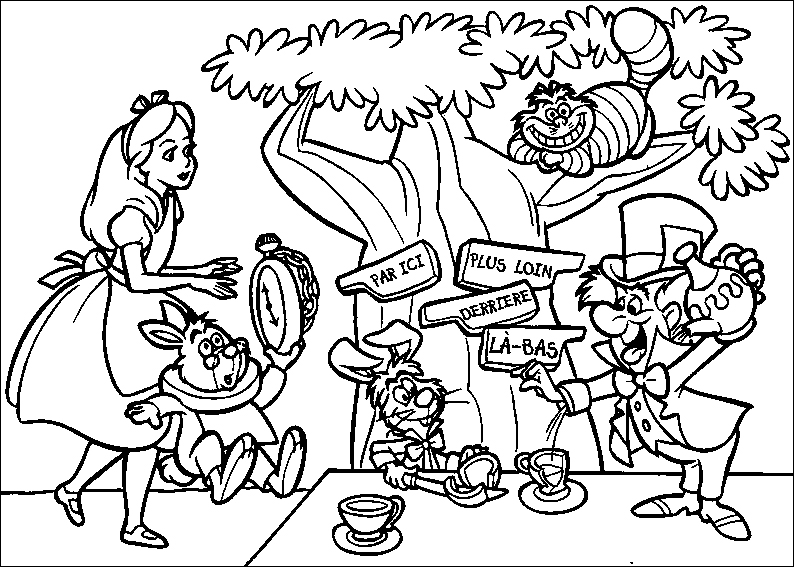 Disney Coloring Sheets For Kids Alice In Wonderland Coloring Pages