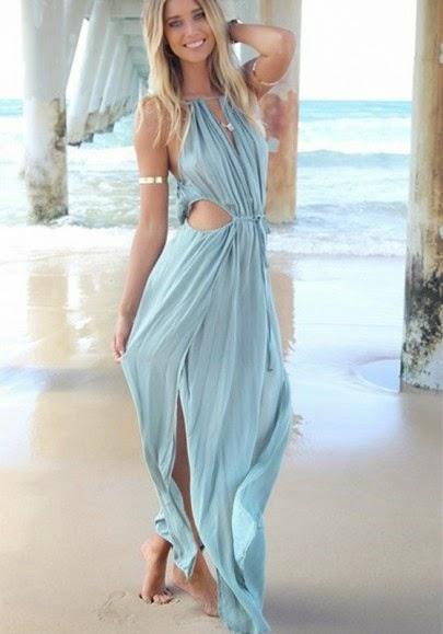 Blue Plain Ruffle Cut Out Side Slits Maxi Dress