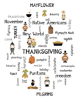 photo of Thanksgiving Word Art Poster, free, pdf, Thanksgiving, teacherspayteachers.com, Ruth S.