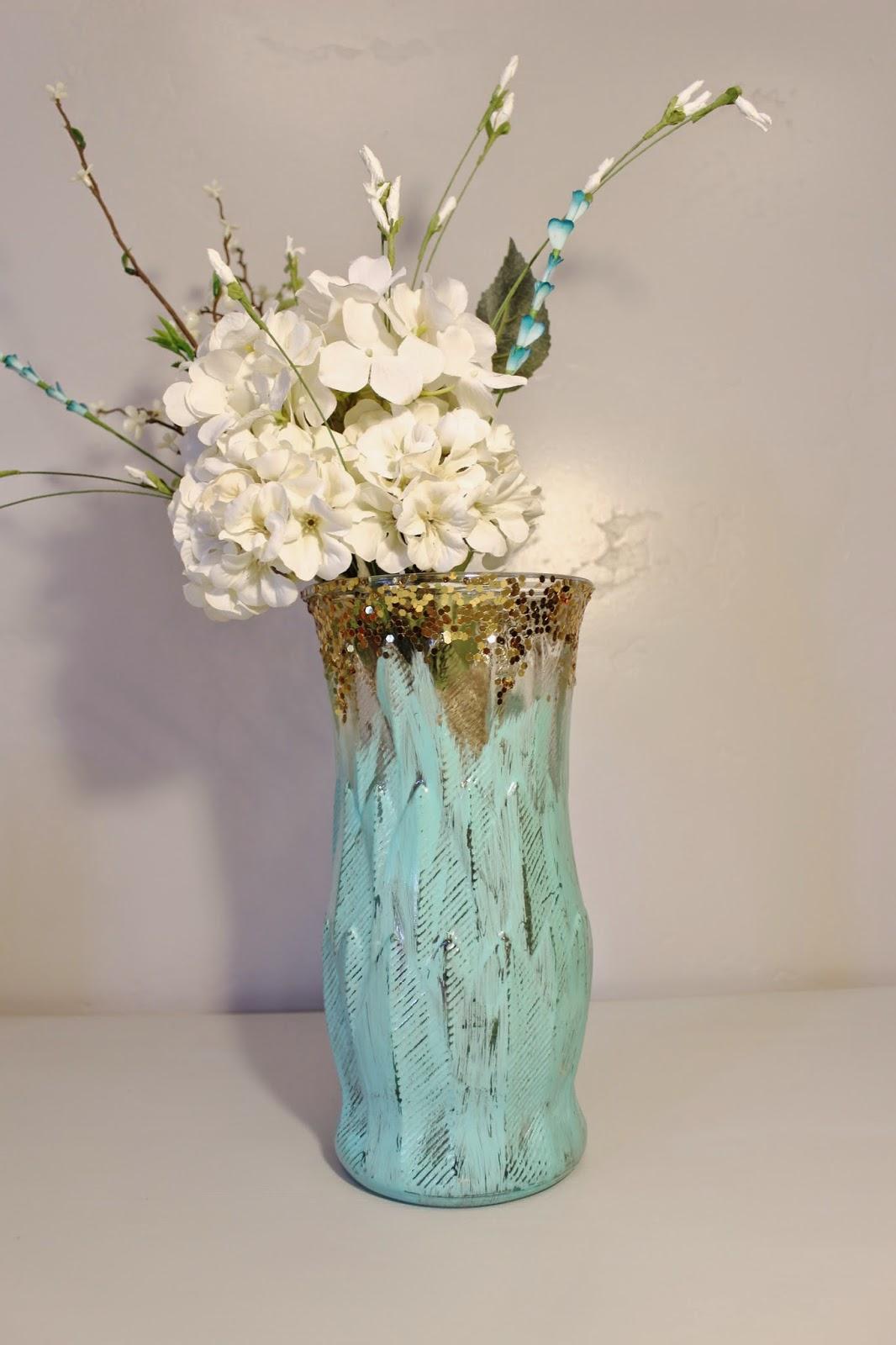 glitter and turquoise vase, large glitter vase, large handpainted vase, handpainted turquoise vase, distressed turquoise vase, glitter ombre vase, glitter vase, gold and turquoise vase, gold glitter vase