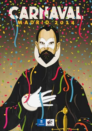 poster de caranvales Madrid 2014 - Caballero mano en el pecho disfrazado