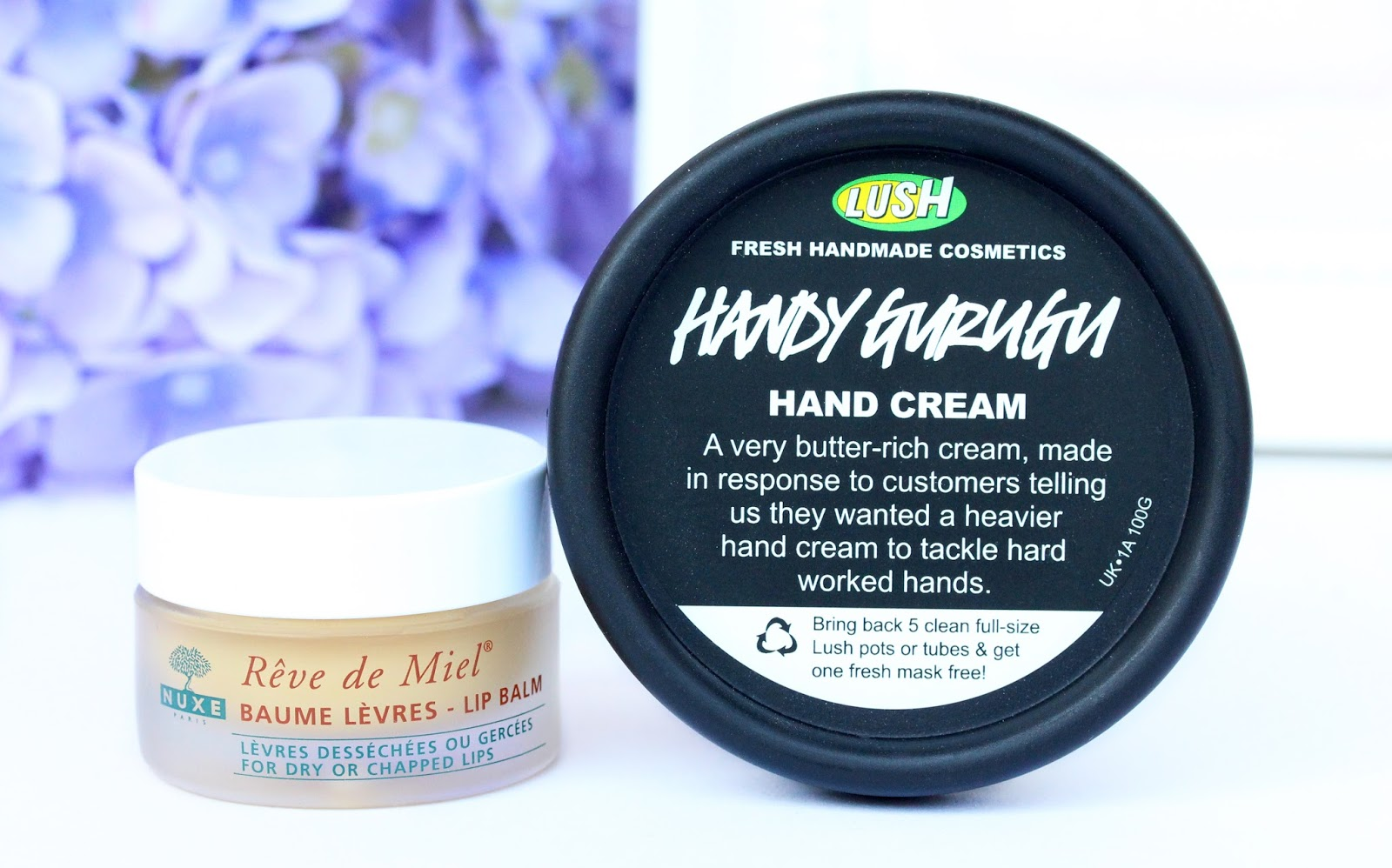 lush handy gurugu and nuxe reve de miel lip balm