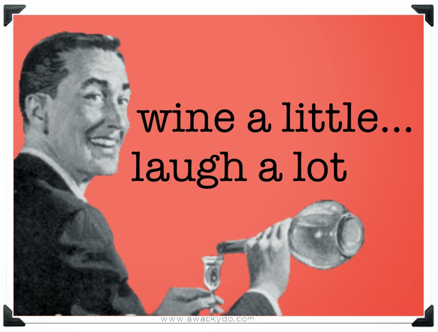 vintage image of man pouring a drink of wine, wine a little, laugh a lot