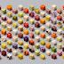 98 alimentos diferentes cortados em cubos idênticos