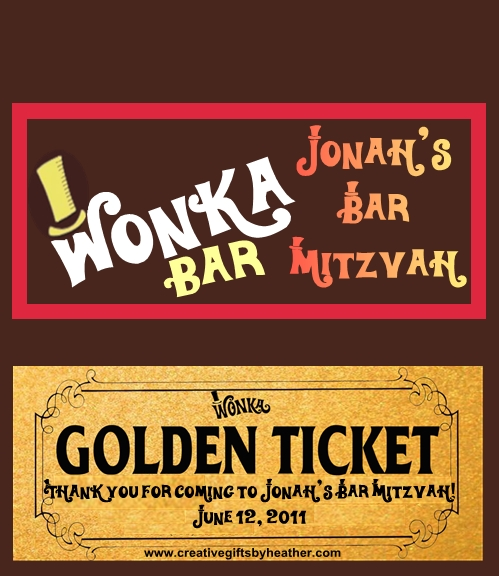Willy Wonka Golden Ticket Bar Mitzvah Wrapper