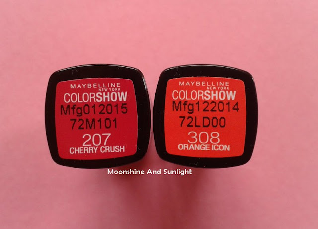 Maybelline Colorshow lipsticks in CHERRY CRUSH & ORANGE ICON | Review, Swatches