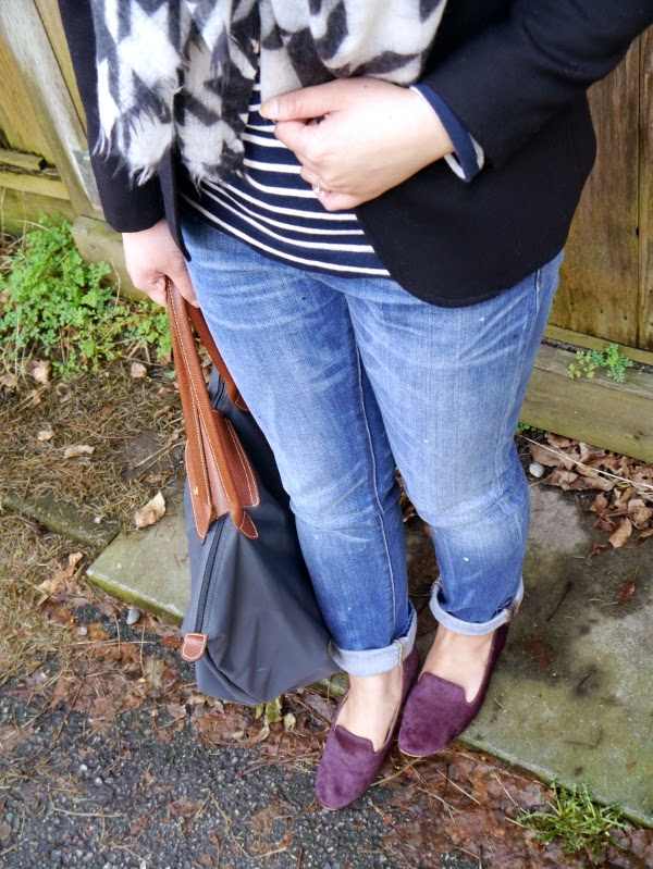 Weekend casual: Black blazer, stripes, houndstooth, smoking slippers and boyfriend jeans