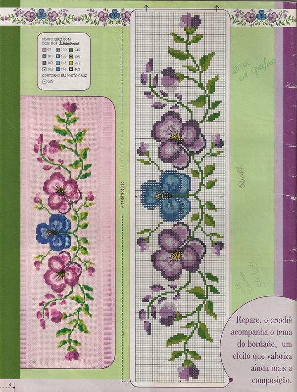 Gráficos de flores para barrados em ponto cruz
