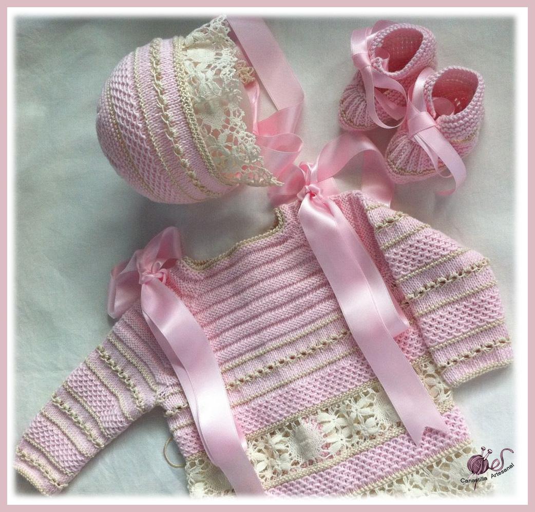 Canastilla artesanal modelo 24 en rosa y beige - Canastilla artesanal bebe ...