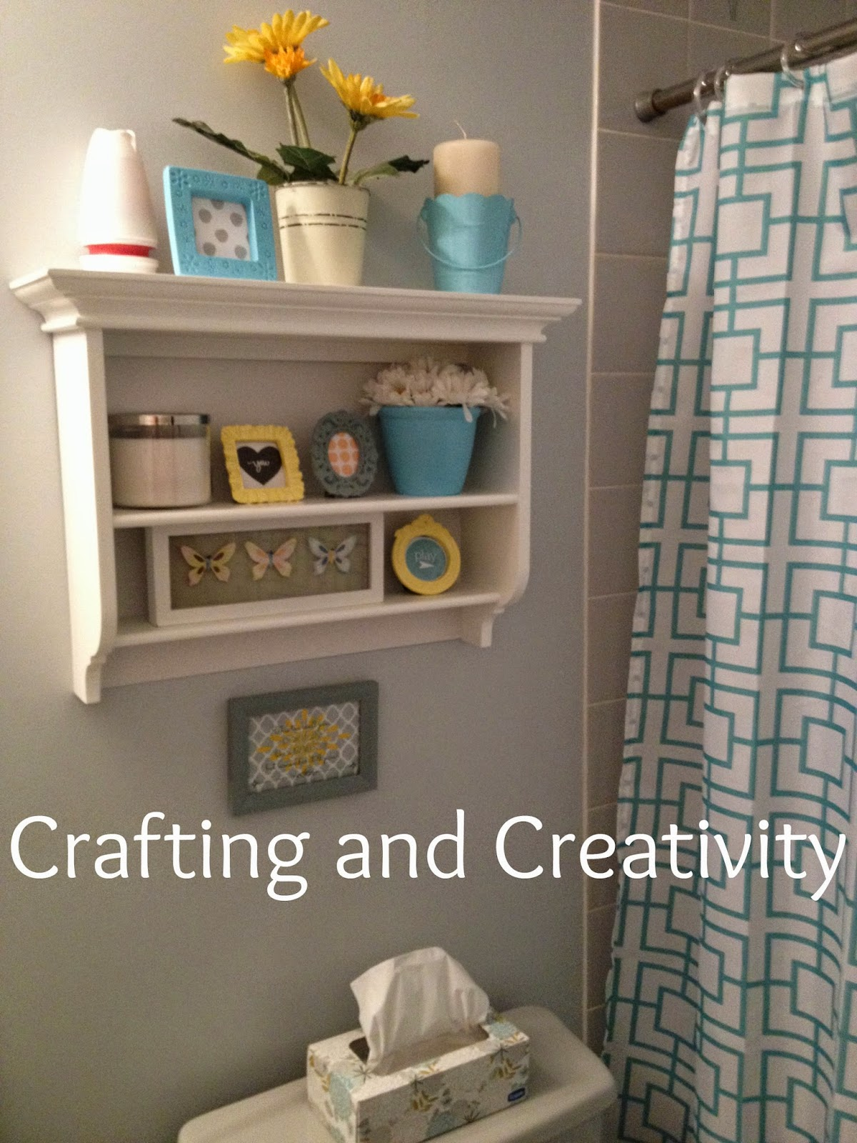 Crafting and creativity blue grey yellow bathroom decor for Bathroom ideas yellow and gray