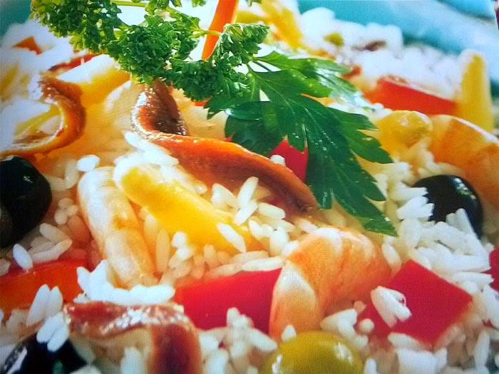 alimentación, anchoas, ensalada, ensaladas, gambas, receta, sana