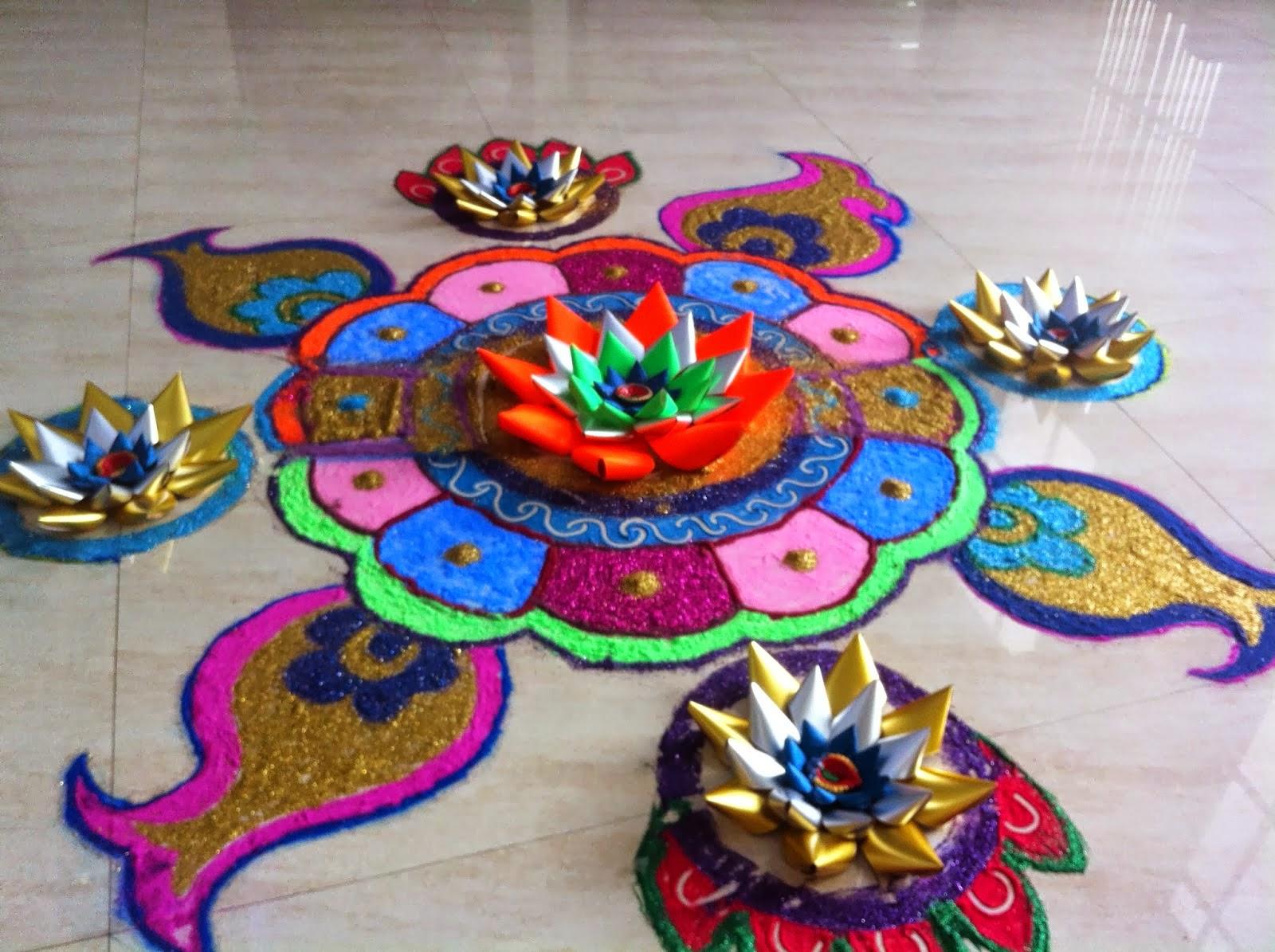 Art ,Craft ideas and bulletin boards for elementary schools: Rangoli ... for diwali decoration ideas for school on board  268zmd