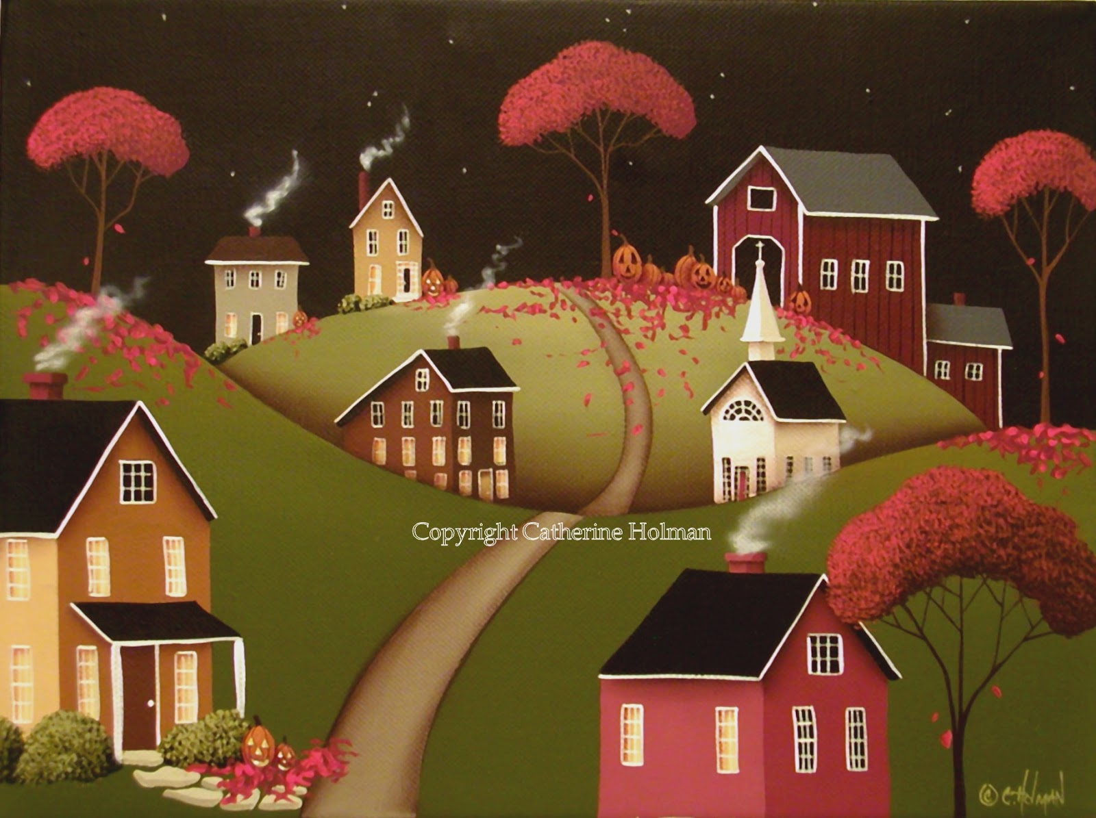Catherine Holman Folk Art: Wickford Village Halloween ll Original ...