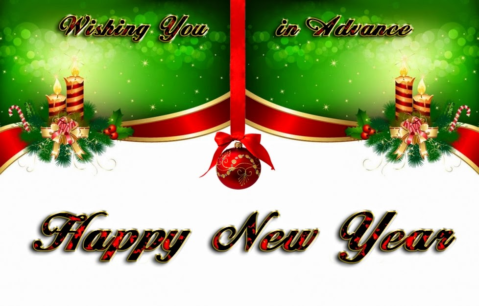 Christmas Candles Bell Happy New Years Advance Wishes 2015 eCard