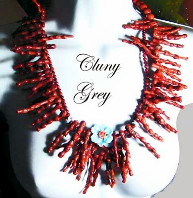coral necklace with lampwork beads