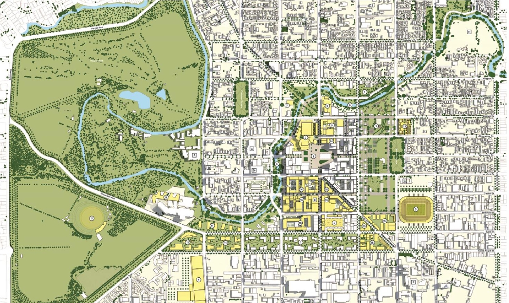 Community architect 050313 the christchurch blueprint plan showing a reduced size downtown with a frame bracketing downtown between the existing park lands along the river and a malvernweather Image collections