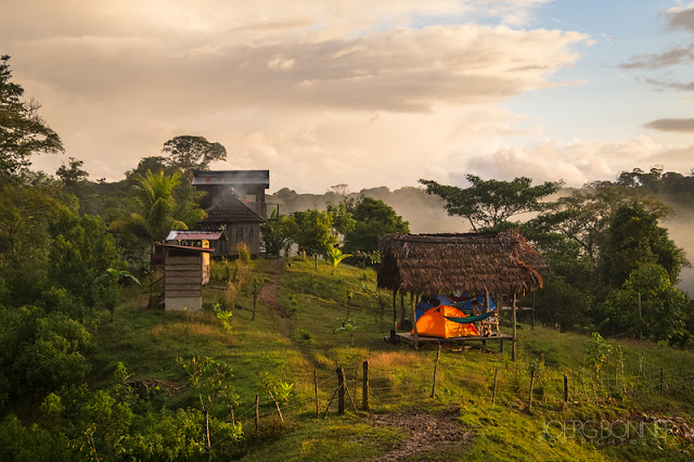 A small eco-camp overlooking the Reserva Biológica Indio Maíz.