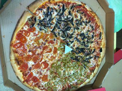 אותה הפיצה במבט מלמעלה