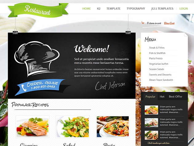 Restaurant Joomla Template Free Download.