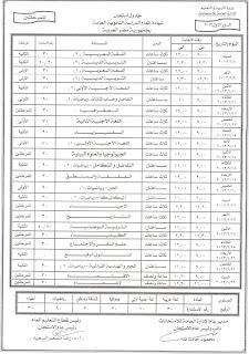جدول امتحانات الثانوية العامة 2013 وفق النظام الجديد