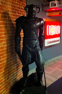 Dragonborn statue in IGN's lobby