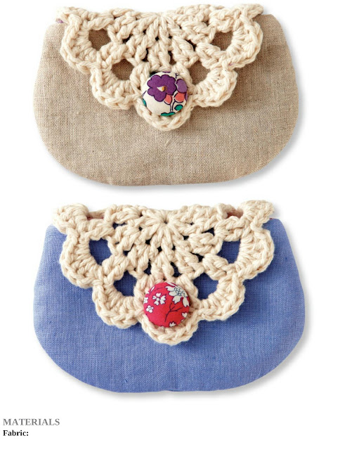 Crochet Doily and Linen Pouch