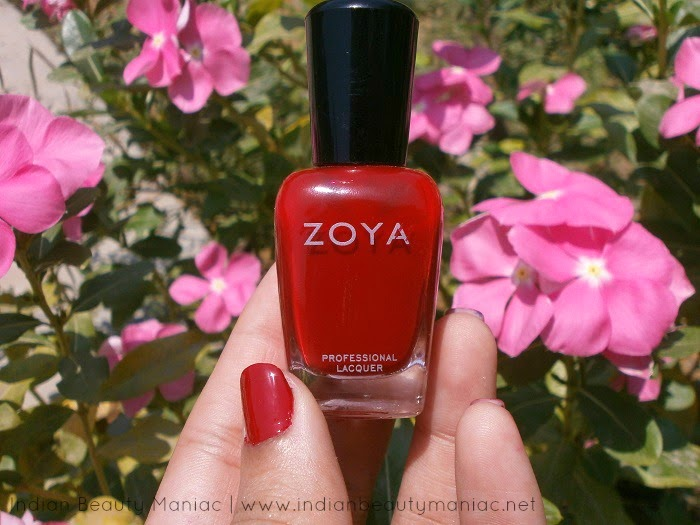 Zoya Professional Nail Lacquer in Kristi is a beautiful true red nail polish with cream finish.