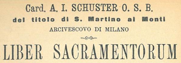 LIBER SACRAMENTORORUM dello Schuster