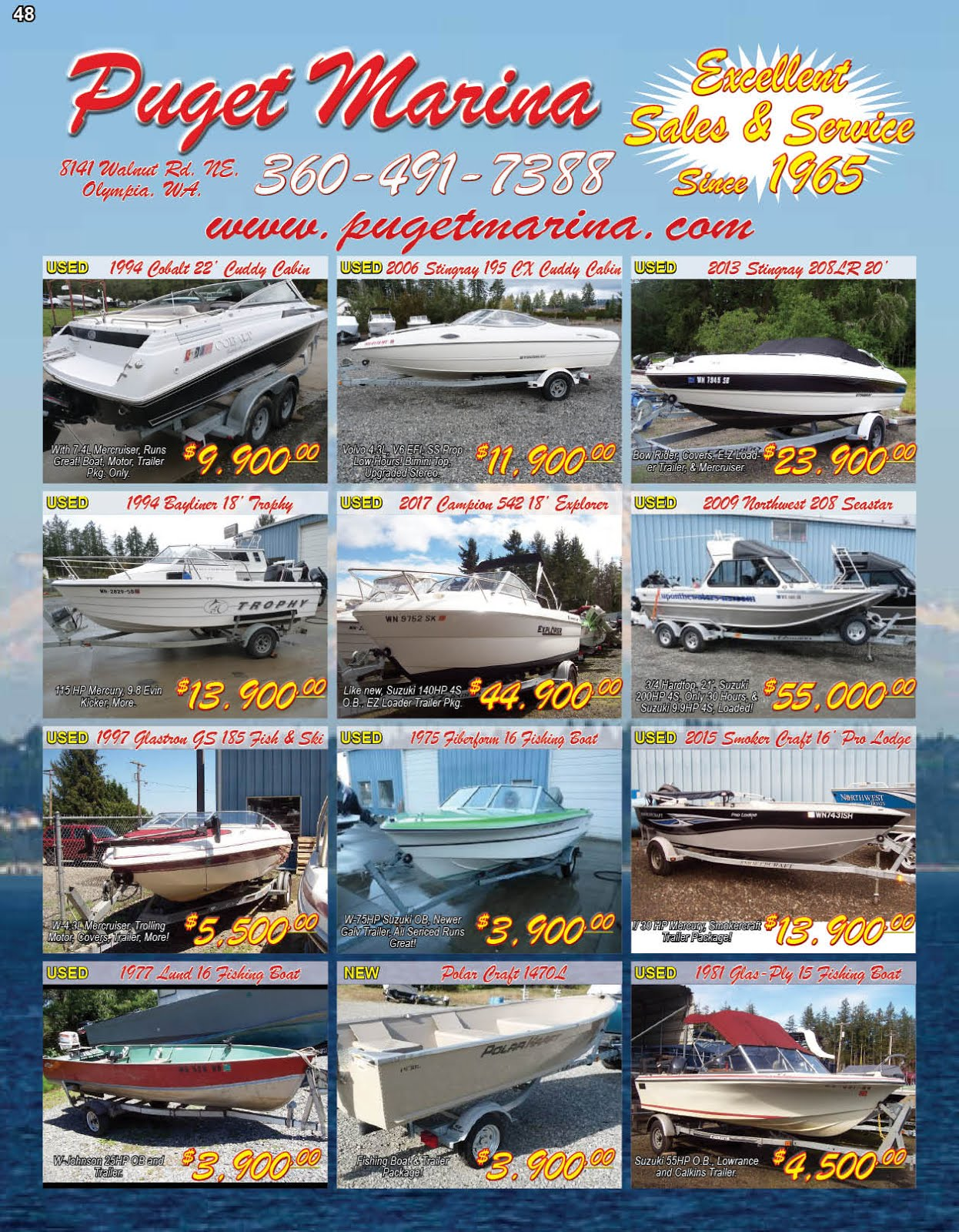 """Puget Marina"" Quality Boat Sales And Service Excellence Since 1965"