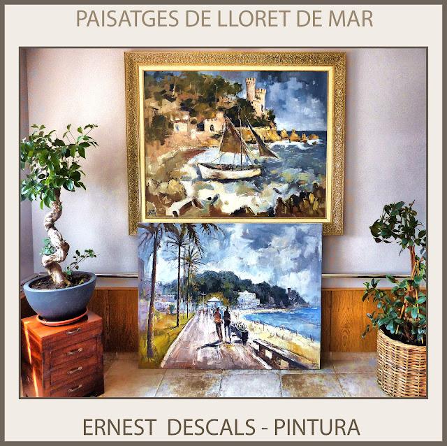 LLORET DE MAR-CATALUNYA-PINTURA-PAISATGES-HOTELS-PINTOR-ERNEST DESCALS-