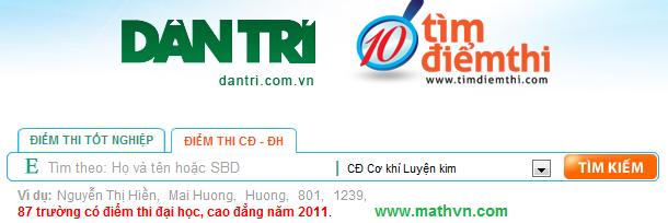 Xem diem thi Dai hoc nam 2011, da co diem th dh nam 2011, tra cuu diem thi 2011 mien phi