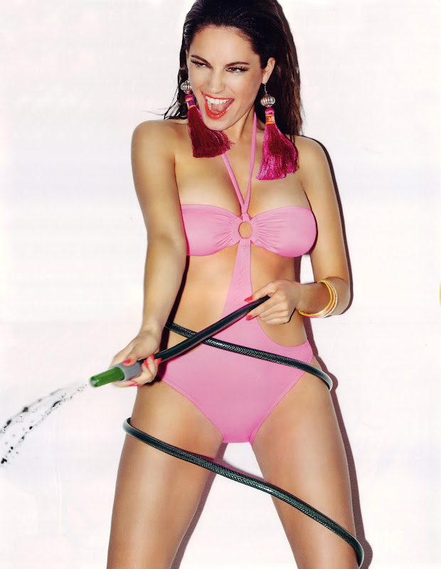 Kelly Brook in pink swimsuit