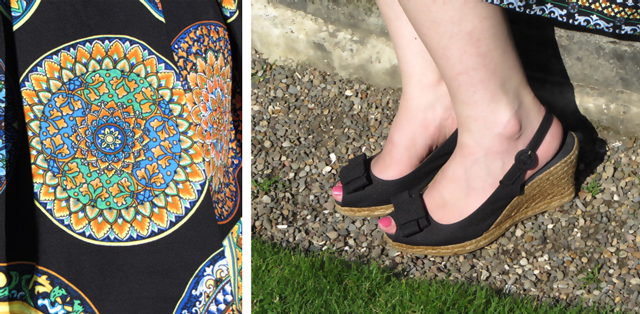 Sicilian print skirt, Dolce and Gabbana inspired, wedge espadrilles Dune shoes