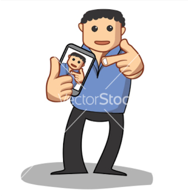 Vector - Funny guy taking a self portrait, photo, photography